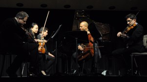Quintet in G Minor for piano and strings, Opus 57. From left: Victor Romanul, Xin Ding, Max Levinson, Owen Young and Daniel Getz.